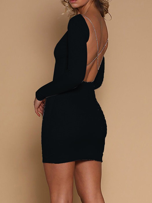 Backless Long Sleeve Party Dress