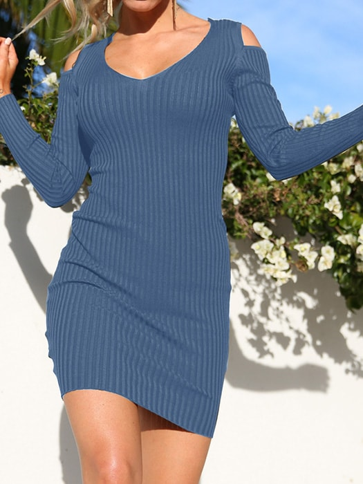 Cut Out Ribbed Dress - S / Blue 31284NC-Blue-S