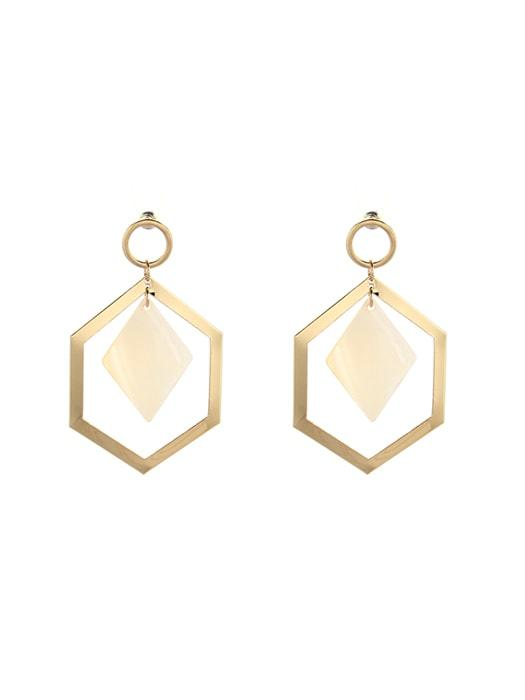Shell Pendent Geometric Hoop Earrings