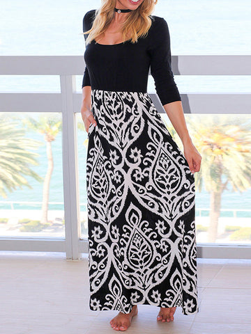 c94f1926b98 Printed Splicing O-Neck Maxi Dress.  22.99 USD.  37.99 USD. Long Sleeve  Velvet Sweaters Casual Knitted Long Flurry Jumper Dress