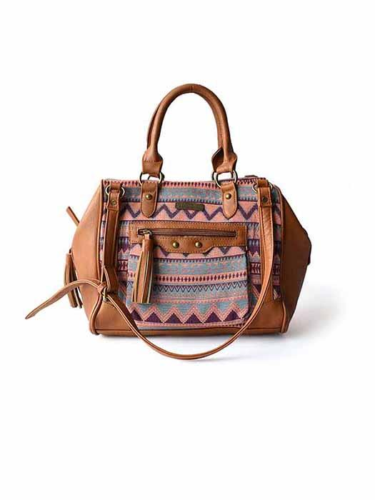 Patterned Shoulder Bag With Outer Zipped Pocket