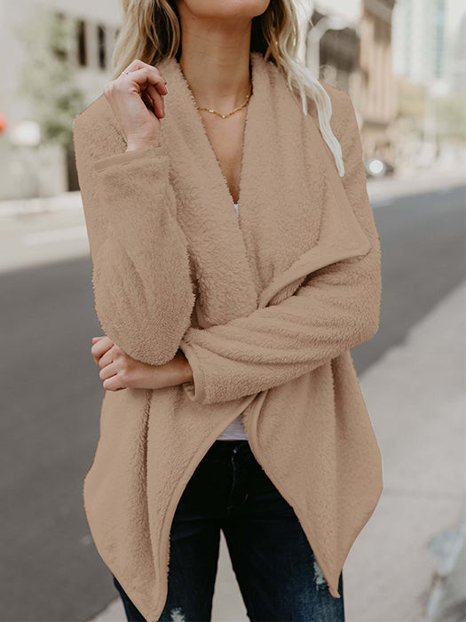 Pure Color Irregular Lapel Long Sleeve Casual Coat