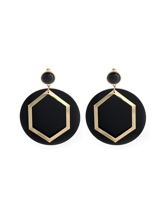 Exquisite Stone Studded Hexagon Earrings