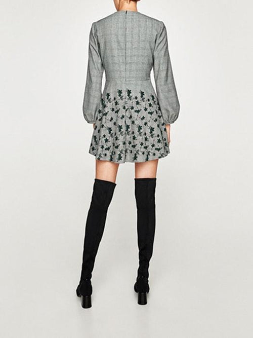 Embroidered Lower Hem Puffy Sleeves Plaid Dress