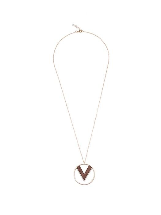 Geometrical Wood Inner Circle Necklace