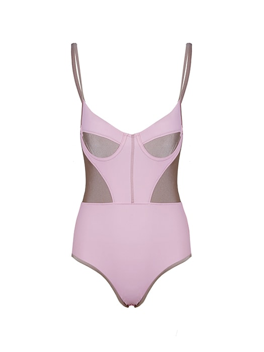 Patched Push-up Leotard Swimsuit