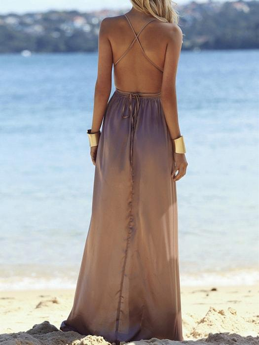 Sexy Pure Color Tie Up Slit Sleeveless Dress