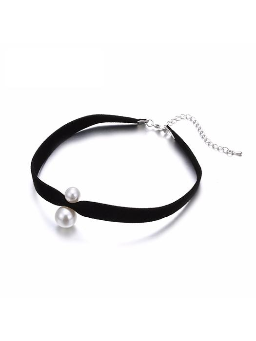 Vintage Imitation Pearl Ribbon Choker Necklace
