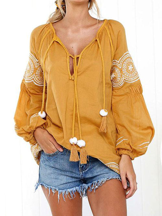 Boho Long Sleeve Embroidered Dress