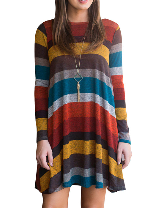 0759320353e A-line Striped Color Blocked Above Knee Dress – WhatsMode