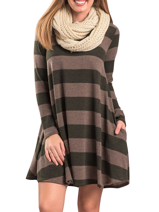 A-line Striped Color Blocked Above Knee Dress