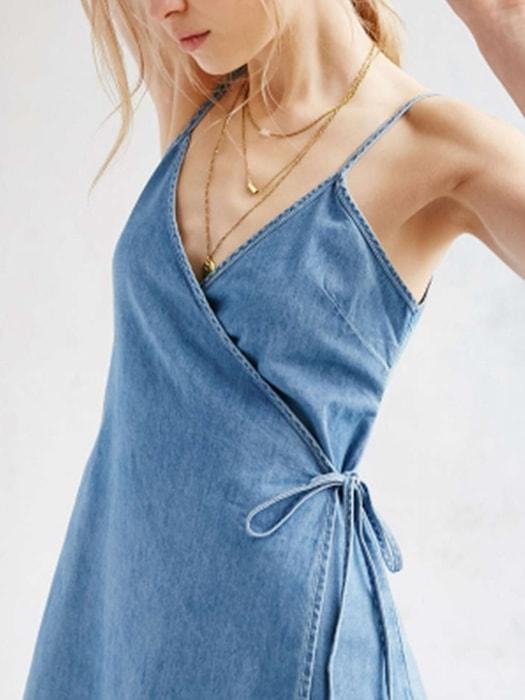 Blue Sexy Denim Spaghetti Strap Dresses