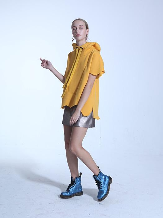 Solid Asymmetrical Drawstring Scalloped Hem Hoodie In Yellow