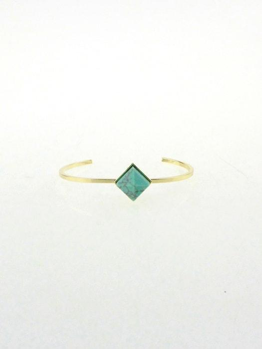 Delicate Tridimensional Cubic Turquois Open Bracelet