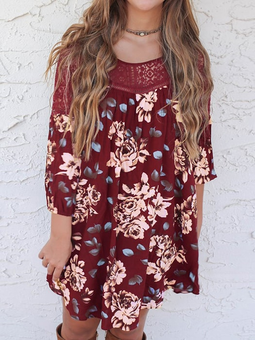 Floral Print Lace Splicing Dress