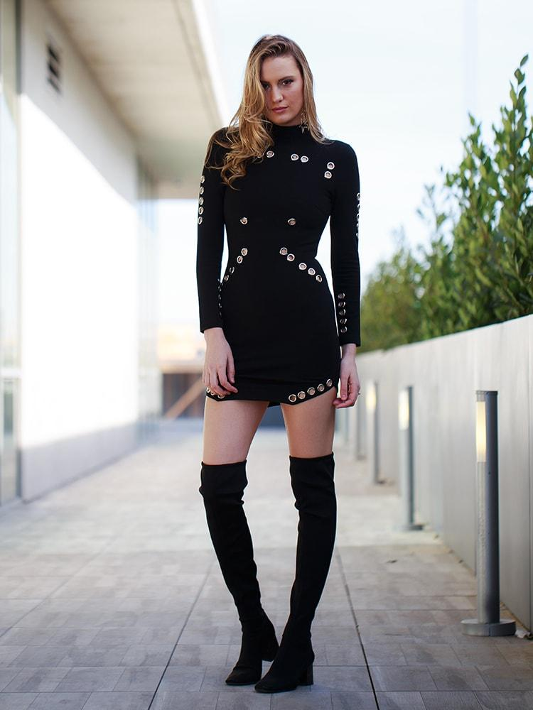 Neck Mock Long Sleeves Metal Holes Bodycon Dress