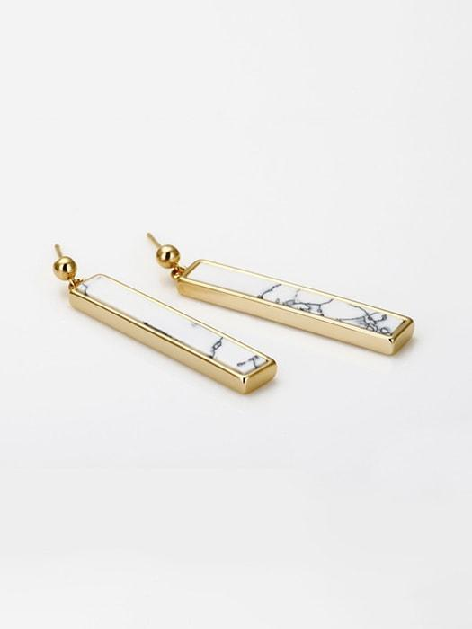 Bar-shaped Marble-inlaid Ear Studs Earrings