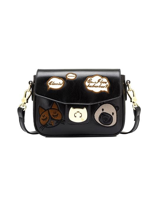 Embroidered Patterns Kitten Buckle Cross Body Bag