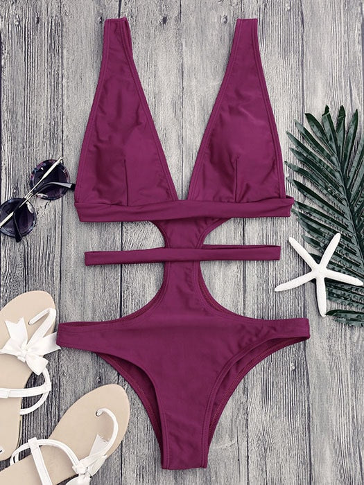 Cut Out Lined One-piece Swimsuit