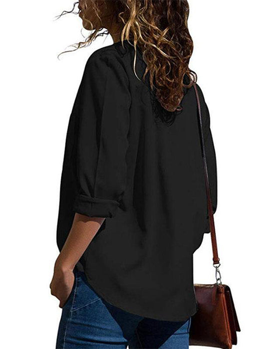 Solid Color Elegant V-neck Pockets Blouse