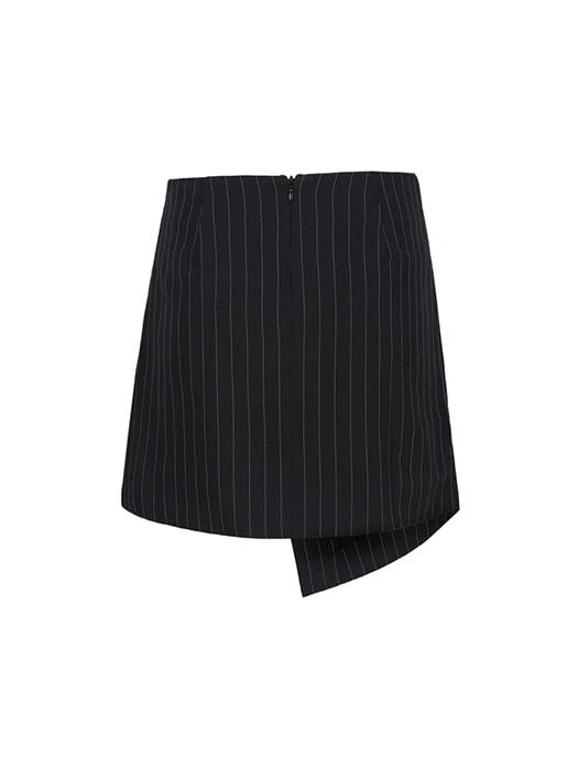 Asymmetric Striped Skirt With Hoop Decoration