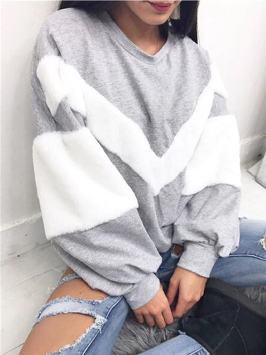 Solid Color Patchwork Long Sleeve Casual Sweater