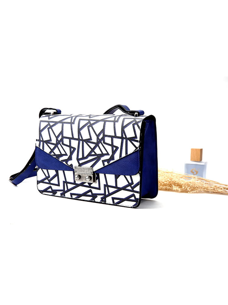 BLANCO Blue Patterned Foldover Shoulder Bag