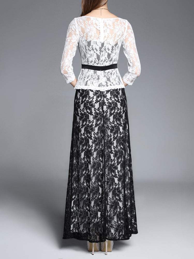 Lace False two Formal Evening Dress