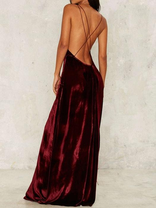 V-neck High Split Strappy Velvet Dress