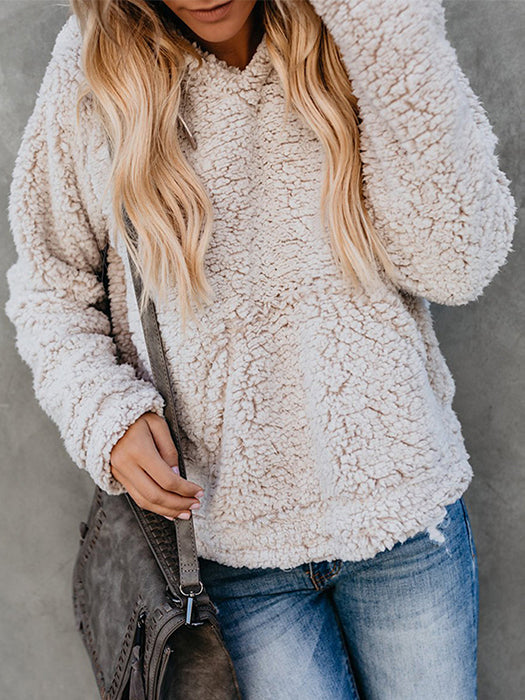 Fashionable Plush Hooded Pullover