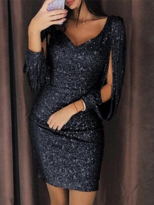 Women Sexy Tassels Detail Slit Sleeve Sequin Party Dress