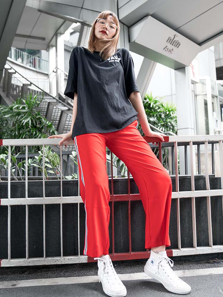 Back-to-school Striped Chiffon Pants