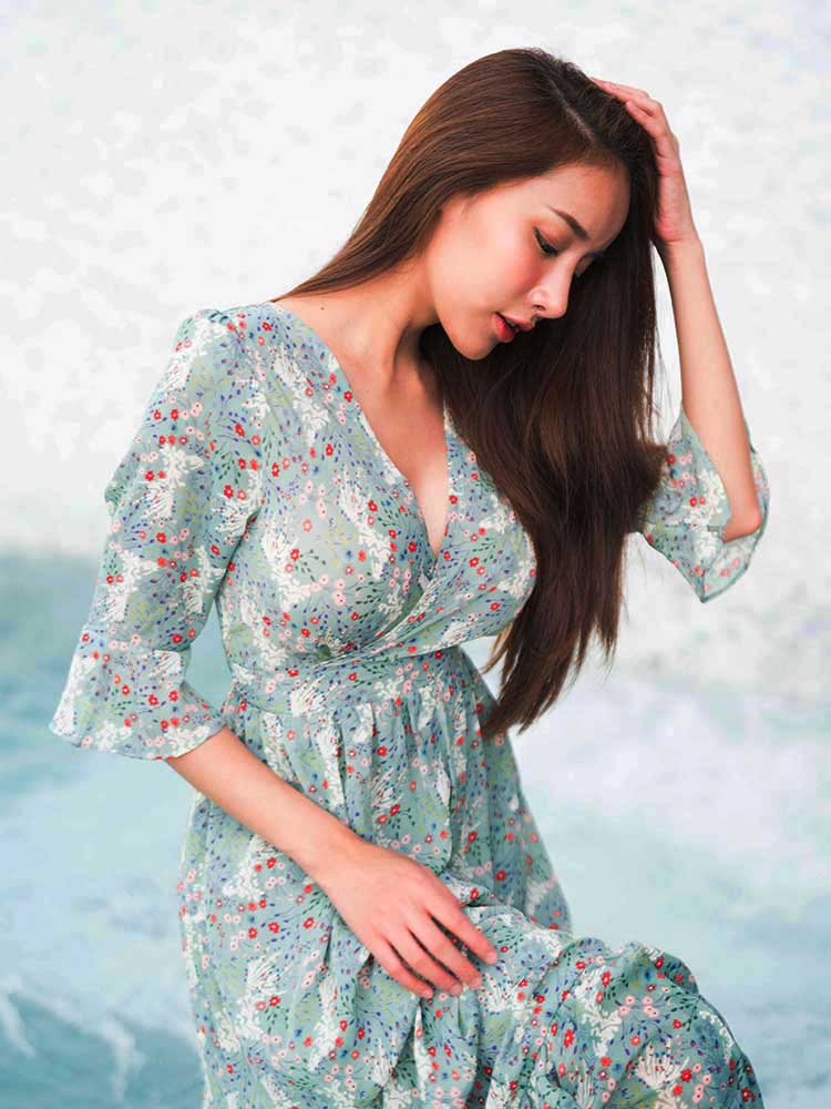 Romantic Floral Beach Dress