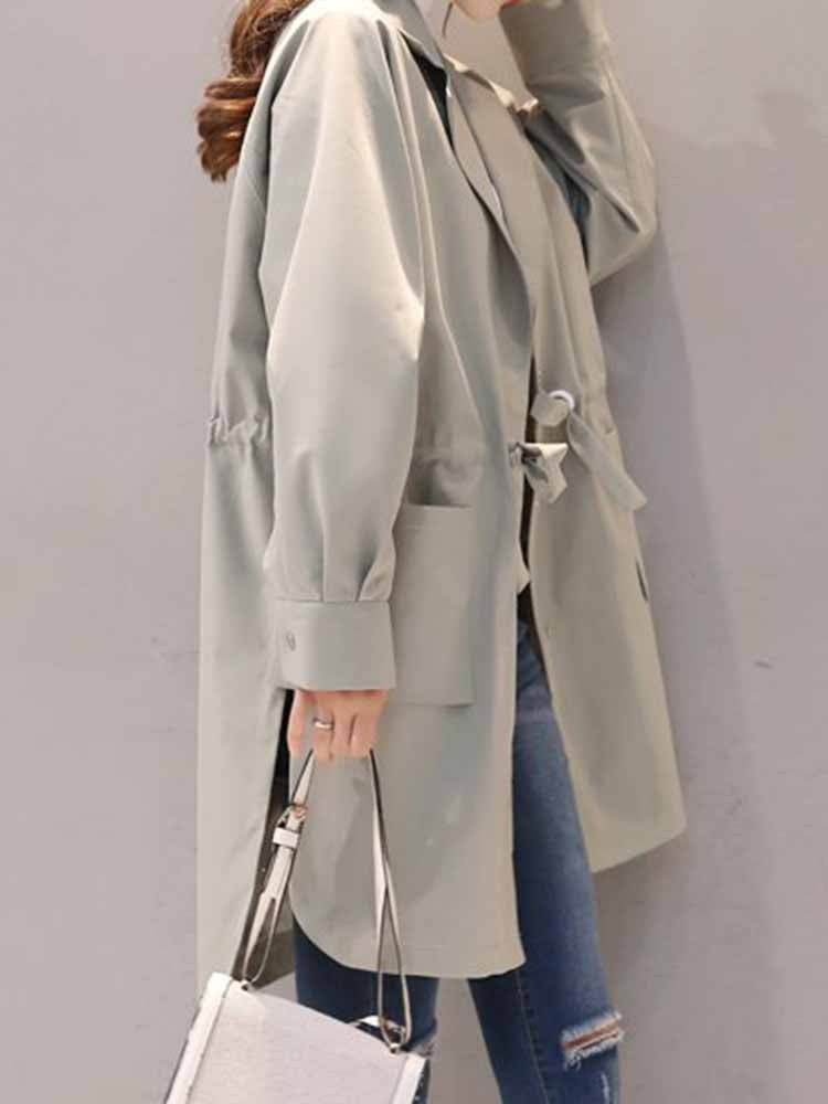 Casual Trench Coat With Drawstring