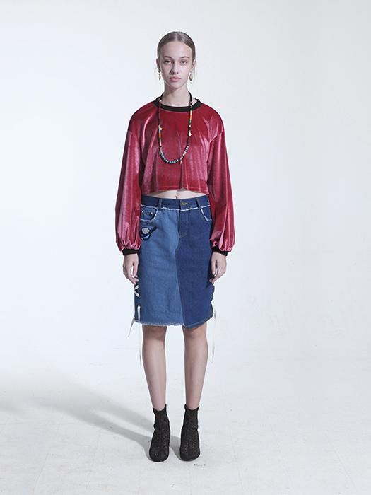 Velvet In Vogue Color Contrasted Top In Red