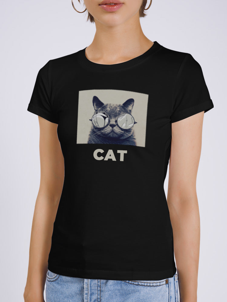 Sunglasses Cat Print T-shirt