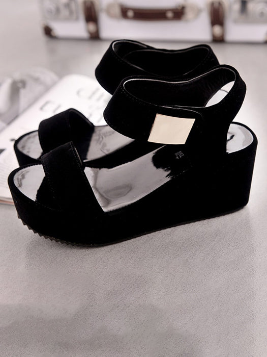 Casual Ankle Strap Buckle Platform Wedge Sandals