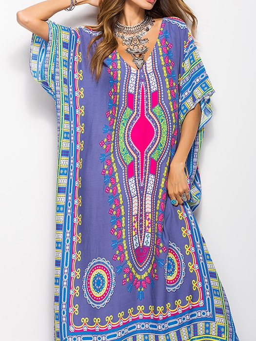South American Style Printed Slit Maxi Dress