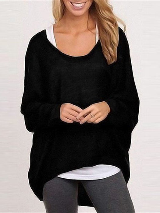 High Low Hem Bat-wing Sleeve Pullover Tee