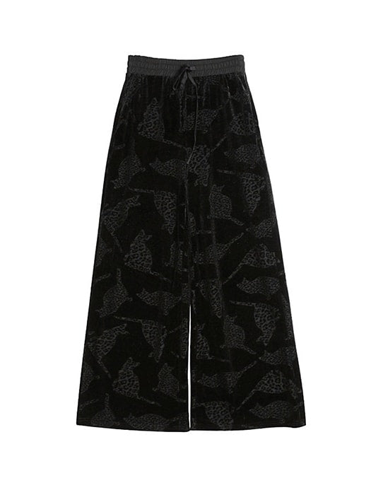 Cheetah Effect Wide Leg Pants In Velvet