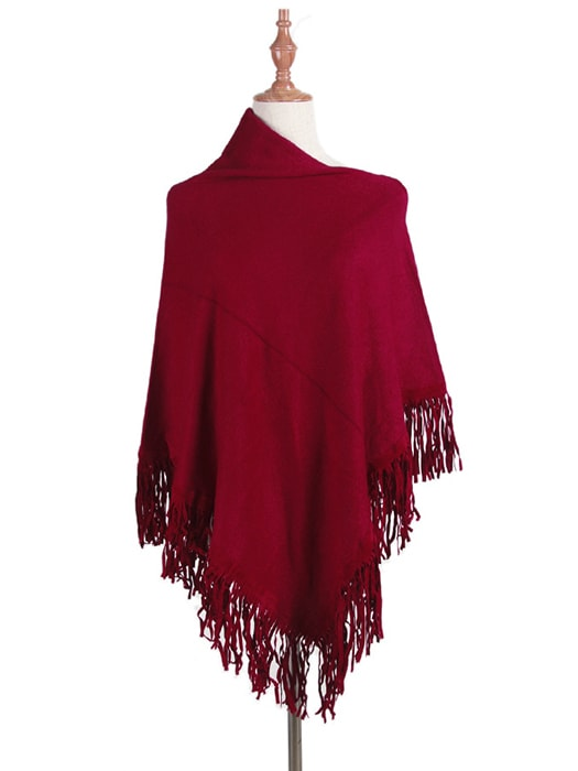Tassel Trims Faux Chamois Leather Cape
