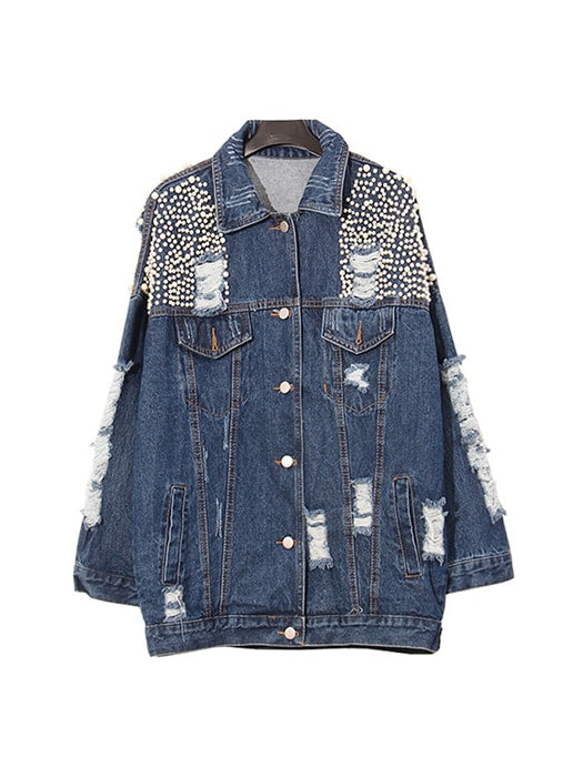 Ripped Bleach Wash Denim Coat With Beads