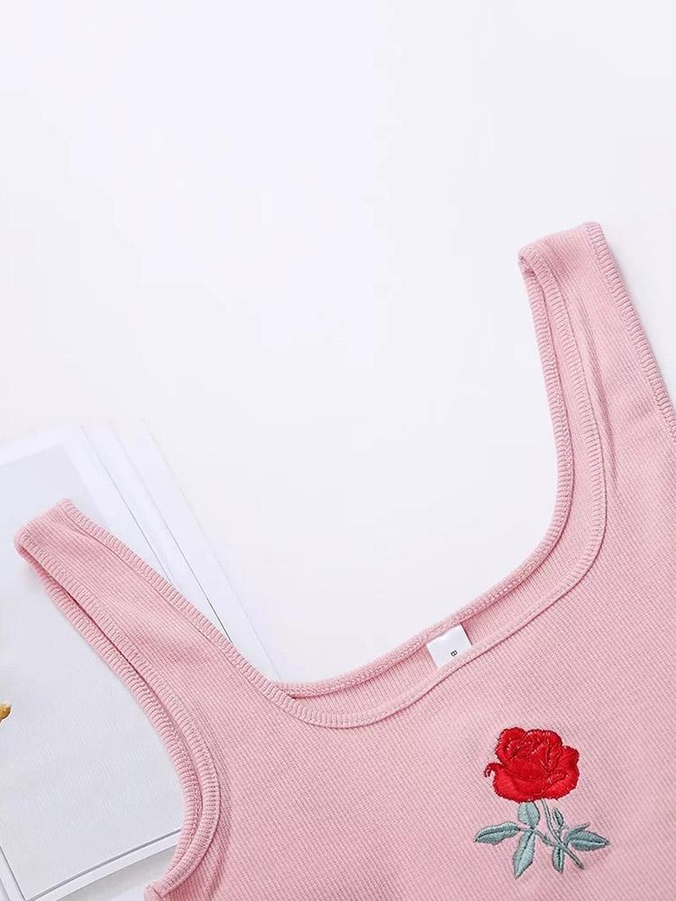 Rose Embroidery Cami Top