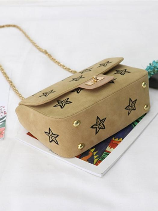 Embroidered Stars Faux Suede Cross Body Bag