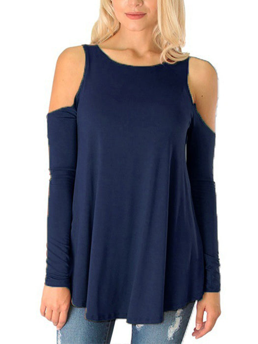 Fashion Casual T-shirt Cold Shoulder Tunic Top Long Sleeve Blouse