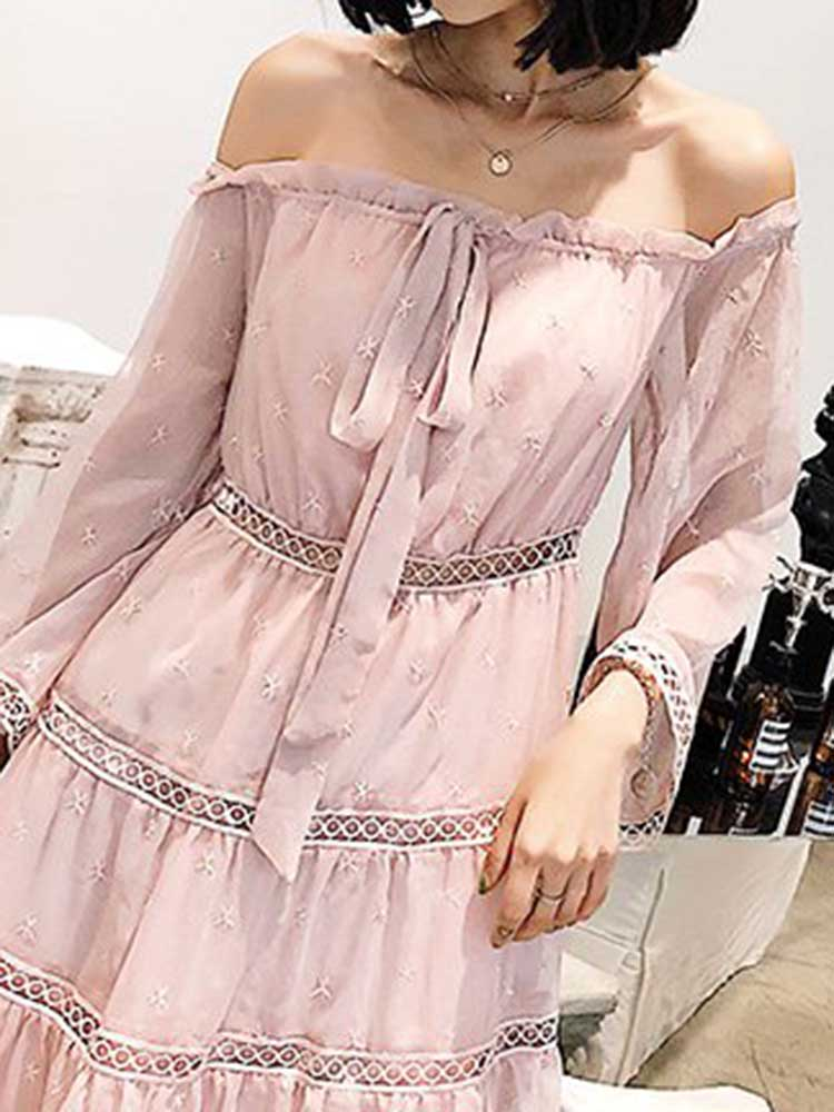 Sweet Pink Off-the-shoulder Dress