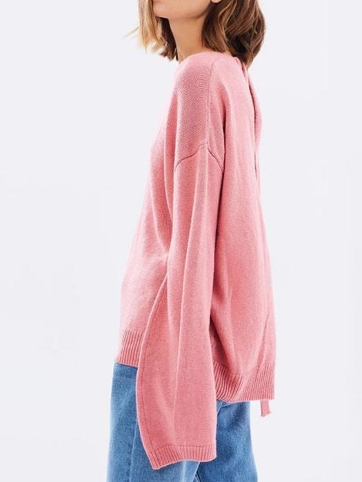 Oversize Hollowed Out Sweater In Coral Red