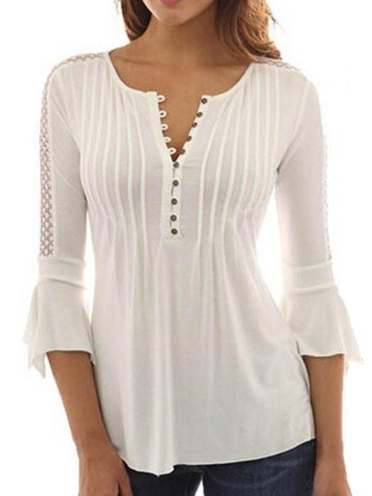 1f0ef3c4 Deep V-neck Button Down Bell Sleeve Blouse – WhatsMode