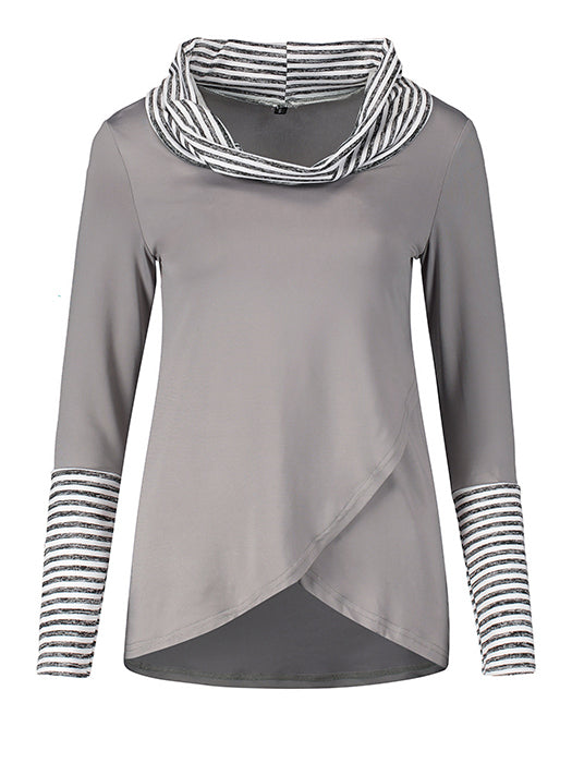 Long Sleeve Stripe Casual Irregular Hem T-shirt