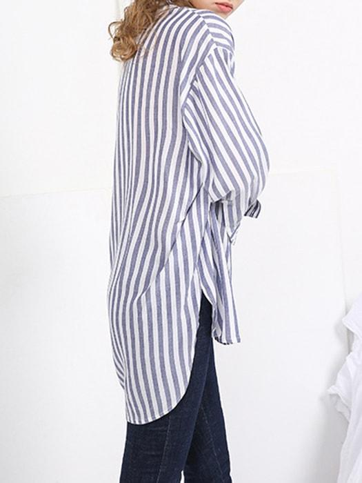Curved Atactic Plunge Neck Top In Stripe